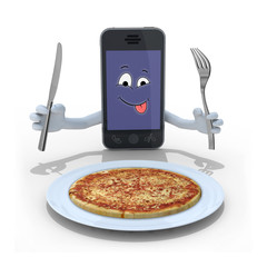 smartphone cartoon in front of a pizza