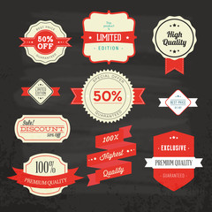 set of sale labels and shops discount stores retro style