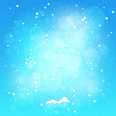 Snowfall, abstract blue winter background, vector illustration