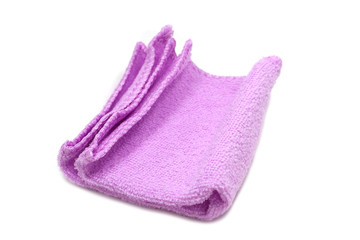 purple cloth for cleaning utensils on a white background