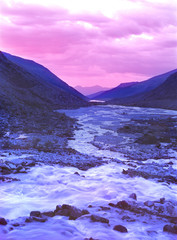 mountains  river altai sunset