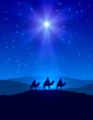 Christmas star on blue sky and three wise men - 72272100