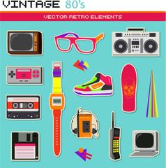 Vintage retro 80's vector elements
