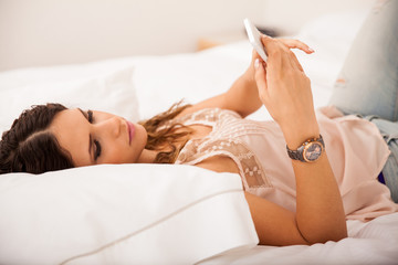 Using a cell phone in bed