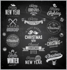 Christmas set - labels, emblems and other decorative elements