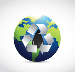 recycle oil around the globe illustration