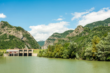 Dam On Olt River In The Carpathian Mountains