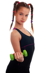 Sports girl with dumbbells on isolated background