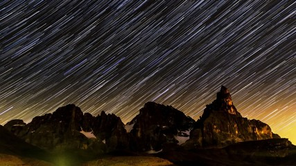 Star trails over Pale di San Martino, Dolomites