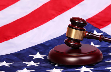 Judge Gavel and American Flag