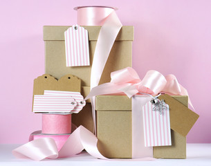 Christmas gift box in modern trend natural gift wrapping