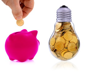 Traditional  lightbulb with  golden coins and pink piggy bank