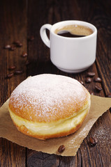 Berliner donut with coffee