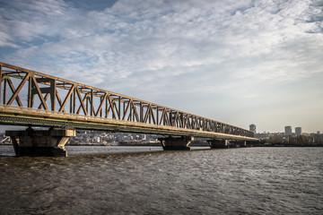 Bridge across Danube river - Belgrade, Serbia.