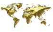 Earth Map Continents Gold On White