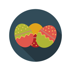 Flat Design Concept of Easter Eggs Vector Illustration With Long