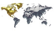 Earth Map Metalic Continents with Golden North America