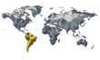 Earth Map Metalic Continents with Golden South America