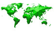 Earth Map Continents Green Metalic On White