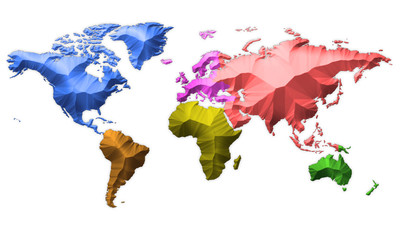 Earth Map Continents Multi Color On White
