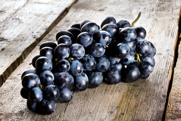 Bunch of ripe juicy blue grapes