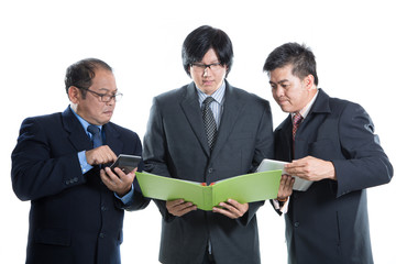 Asian businessman team on discuss about thier job