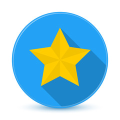 Blue star icon button with long shadow3