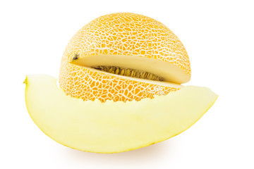 Melon with a slice cut out