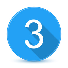 Blue 3 flat icon button with long shadow