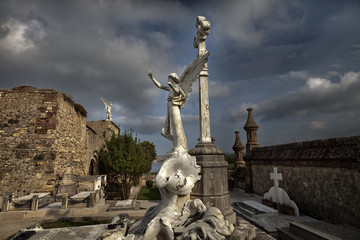 Old cemetery with alngel scultures. Comillas,Spain.