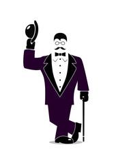 cartoon gentleman on a white background