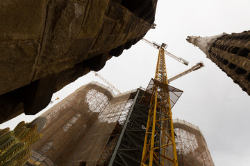 Construction of Sagrada Familia in Barcelona
