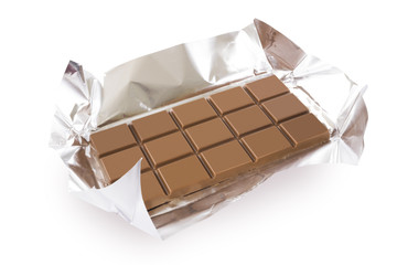 Chocolate bar with foil