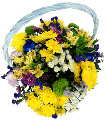Basket of chrysanthemums and alstroemeria