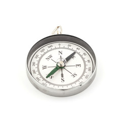 Old compass on white background.