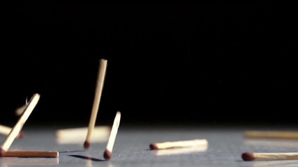 matches fall on the table
