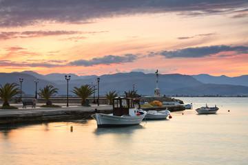 Fishing boats in Argolikos Bay in Peloponnese, Greece.