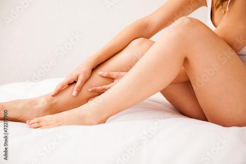 Leinwandbild Motiv Closeup of smooth hairless legs