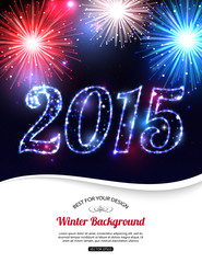 Happy New Year 2015 celebration concept with fireworks and place