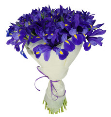 Bouquet of irises in package