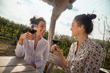 Two Young Women Drinking Wine