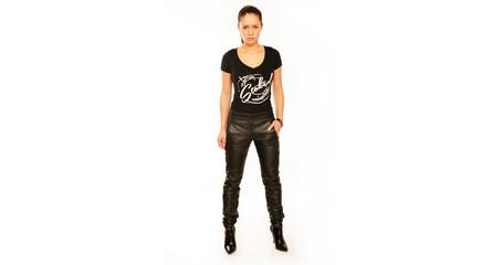 Frau Designershirt Bikerhose