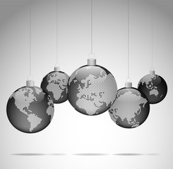 Christmas balls with world dotted maps - Christmas travel