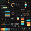 Business infographics vector elements in blue, red and yellow