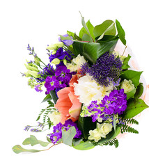 Colorful Flowers Bouquet Isolated on the White Background