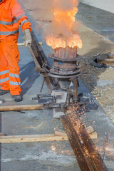 Thermite welding, installation of tram tracks 3