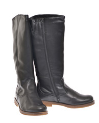 Women's Black Leather Boots Isolated on White Background for