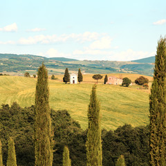Tuscany landscape, Vitaleta chapel, little church in Val d Orcia