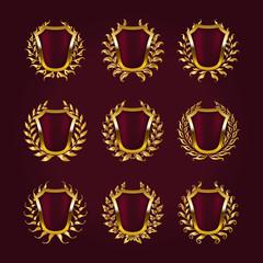 Golden shields with laurel wreath