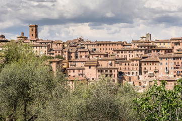 Panoramic view of an ancient Tuscan village in Italy